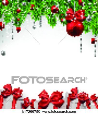 clipart weihnachten hintergrund mit tannenzweige und balls k17266750 suche clip art. Black Bedroom Furniture Sets. Home Design Ideas