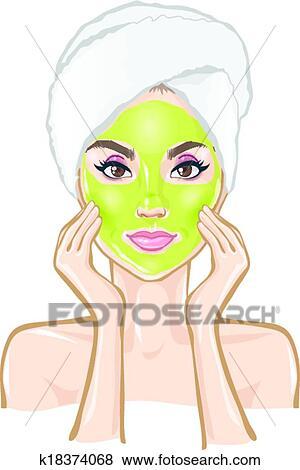 Clip Art of Spa, beautiful woman, massage, mask k18374068 - Search ...