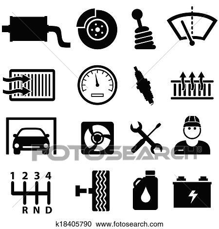 剪贴画 汽车修理, 同时,, 技工, 图标高清图片