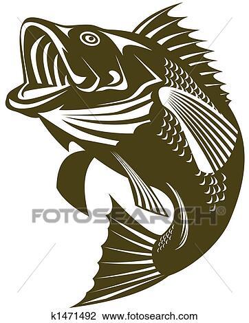 Clip Art Of Largemouth Bass K1471492