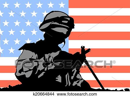 Clipart of American soldier k20664844 - Search Clip Art ...