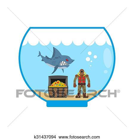 clipart of mini shark in aquarium and treasure chest scuba diver in rh fotosearch com aquarium clipart black and white aquarium clipart free
