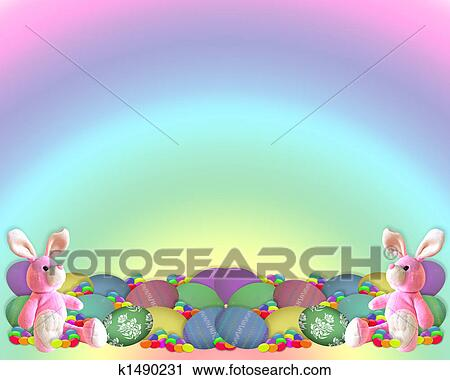 Clipart Of Easter Border Bunny Eggs Candy K1490231