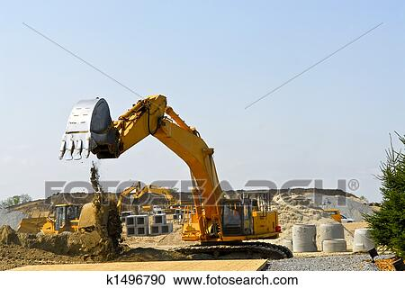 Stock photography of construction site machines k1496790 for Construction site wall mural
