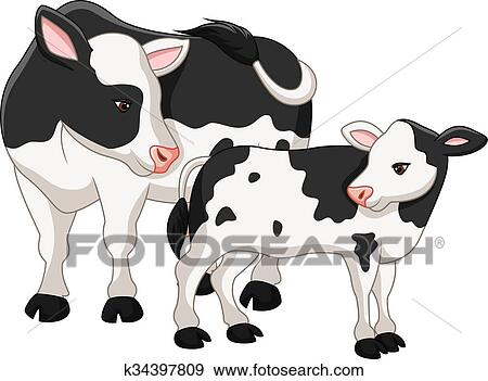 Clip Art Of Cute Cow Mother With Baby Calf K34397809