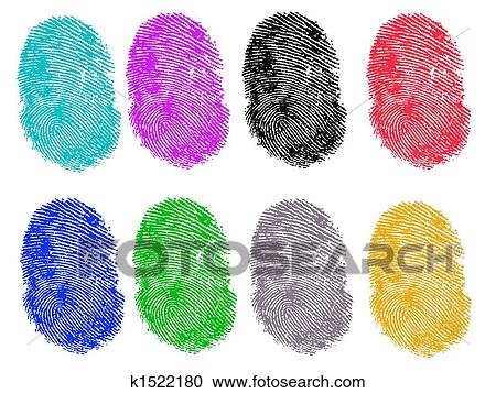Stock Illustrations of 8 Colored Fingerprints k1522180 - Search ...