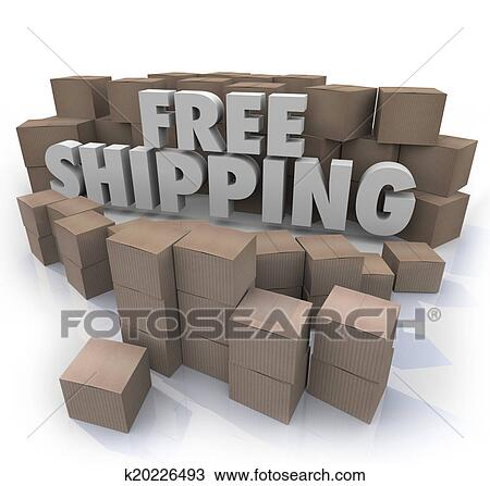 Drawing Of Free Shipping Cardboard Boxes Packages Orders