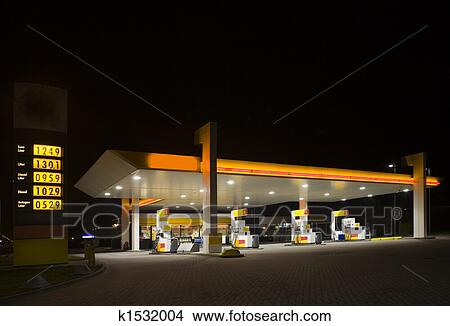 Stock photo of gas station at night k1532004 search for Cleveland gas station mural