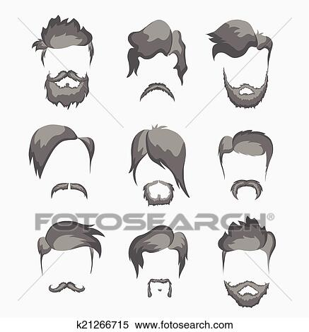 clipart of mustache, beard and hairstyle hipster k21266715 - search