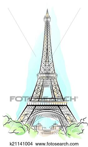 Clipart Of Drawing Color Eiffel Tower In Paris K21141004