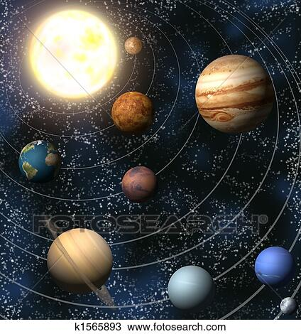 Drawing of Solar System k1565893 - Search Clipart ...