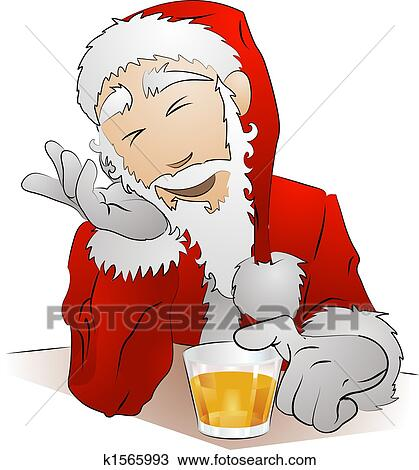 Clipart of Illustration of drunk Santa Claus k1565993 - Search ...