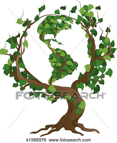 Clip art of green world tree vector illustration k1566976 for Environmental graphics giant world map wall mural