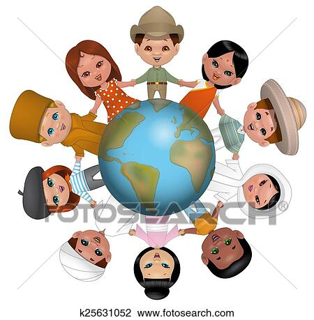 Drawings of Children around the world k25636204 - Search Clip Art ...