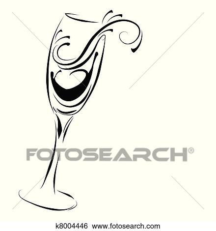 clip art of abstract champagne glass k8004446 search clipart rh fotosearch com champagne glass clipart free champagne glass drawing clipart