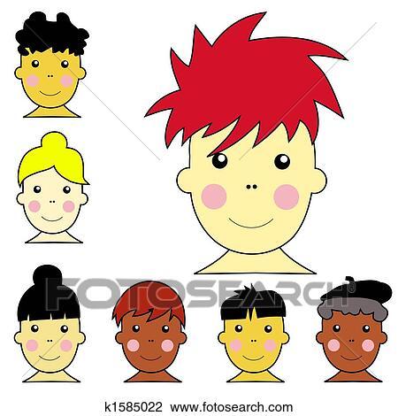 Clipart set van schattig multicultureel jongen en meisje gezichten met anders - Set van jongens en meisjes ...
