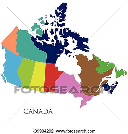 地囹kΈ�_剪贴画 - 颜色, 轮廓地图, 在中, 加拿大 k39984292