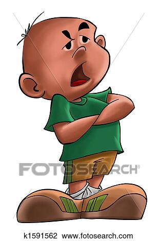 Clip Art of The annoyed boy k1591562 - Search Clipart ...