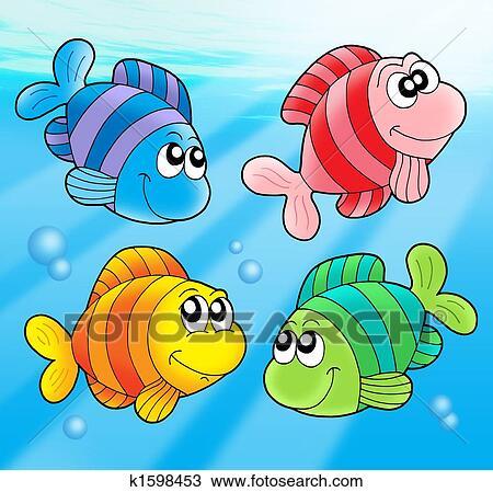 手绘图 - 四, 漂亮, 鱼