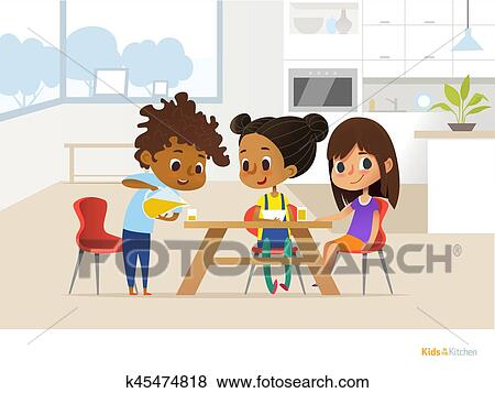 Clip Art of Multiracial children preparing lunch by themselves and
