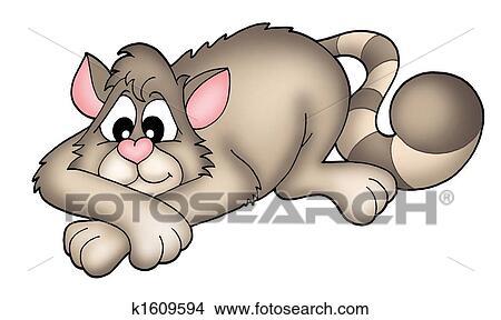 手绘图 - 灰色的猫图片
