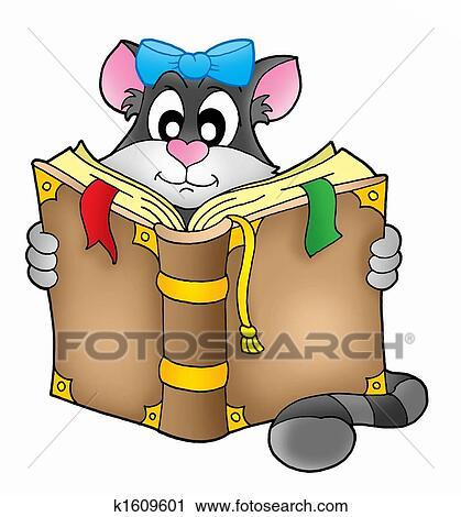 Clipart gatto con libro k1609601 cerca clipart for Gatto clipart