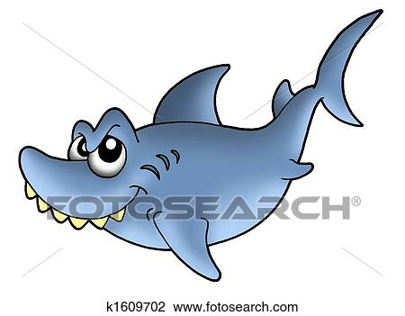 Clip Art of Smiling shark k1609702 - Search Clipart ...