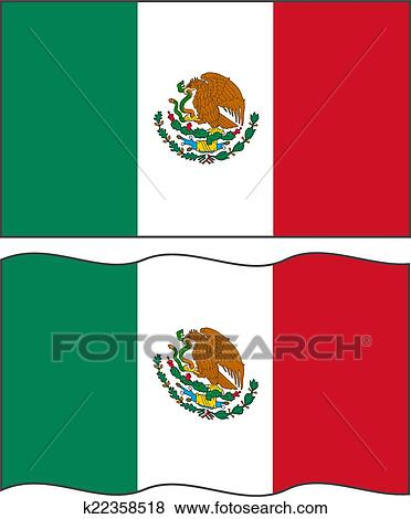 clip art of flat and waving mexican flag vector k22358518 search rh fotosearch com mexican flag clipart black and white american flag clipart