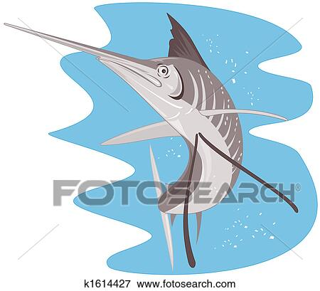 Stock Illustration of Blue marlin jumping k1614427 - Search EPS ...