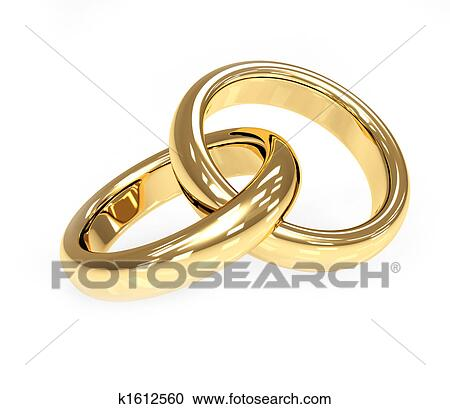 Stock Illustrations of Two 3d gold wedding ring k1612560 Search