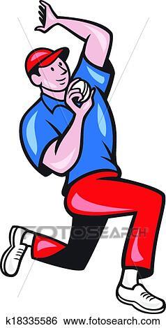 clip art of cricket fast bowler bowling ball blue red k18335586 rh fotosearch com cricut clip art cricket clipart animal