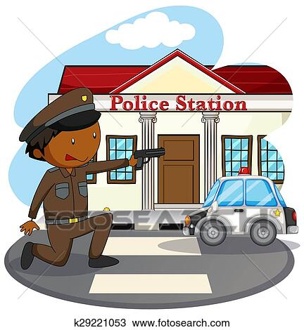 Polizeiwache clipart  Clipart - polizeiwache k29221053 - Suche Clip Art, Illustration ...