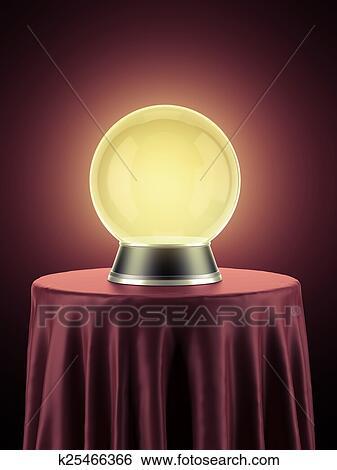 스톡 일러스트 - 황색, 마술, 지구, 통하고 있는, 테이블, 덮는, 와 ...