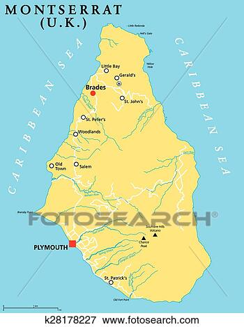 Clip Art of Montserrat Political Map k28178227 Search Clipart