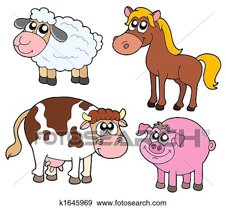 Clipart of Country girl with farm animals k4265081 - Search Clip ...