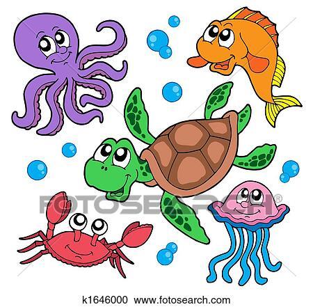 Galleria di illustrazioni animali marini collezione - Clip art animali marini ...