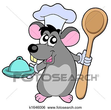 Banque d 39 illustrations souris cuisinier cuill re for Recherche cuisinier