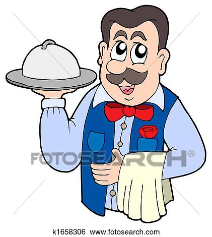 stock illustration of cute waiter with meal k1658306 search clip rh fotosearch com water clip art for kids waiter clip art free