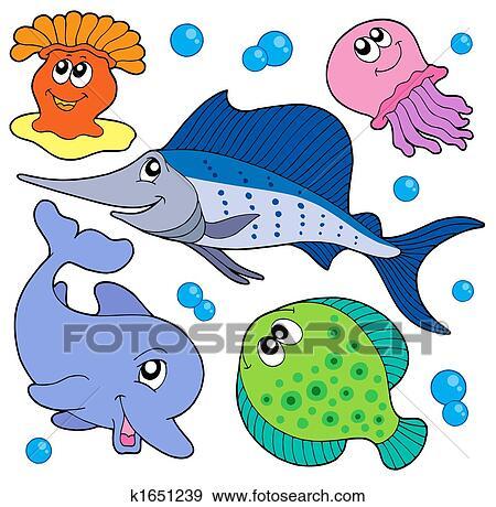 Archivio illustrazioni carino animali marini - Clip art animali marini ...