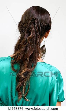 妇女, 带, 编织头发, -, 现代, hairstyles.图片