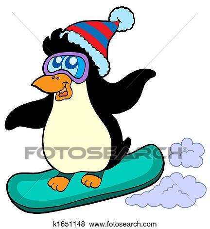 stock illustration of snowboarding penguin k1651148 search eps rh fotosearch com snowboarding clipart free snowboarding clipart png