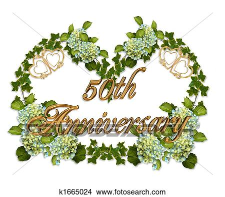 50th Anniversary Ivy And Hydrangea View Large Illustration