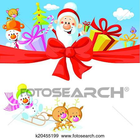 christmas design with santa claus gifts xmas tree snowman and funny reindeer - Santa Claus Gifts