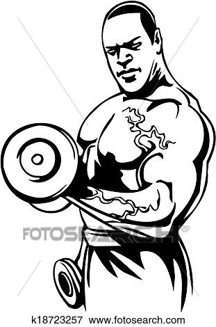 Clipart musculation et powerlifting vector - Musculation dessin ...