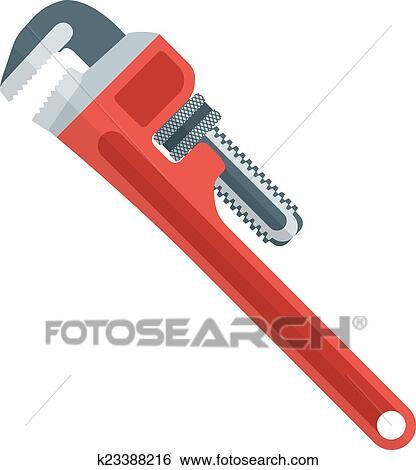 clip art - flache, design, rot, rohr- schlüssel k23388216 - suche