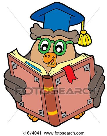 clipart of owl teacher reading book k1674041 search clip art rh fotosearch com Crocodile Clip Art Bike Clip Art