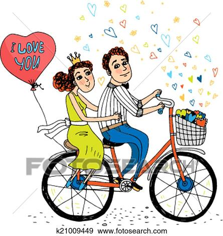 Clip Art Of Two Young Lovers Riding A Tandem Bicycle K21009449