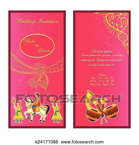 Clip Art Of Indian Wedding Invitation Card K24171088