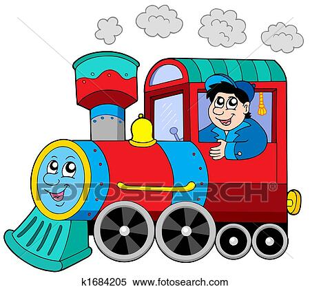 stock illustration of steam locomotive with engine driver k1684205 rh fotosearch com diesel locomotive clipart locomotive wagon clipart