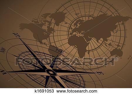 指南针, 图标, 同时,, 地图 放大插图高清图片